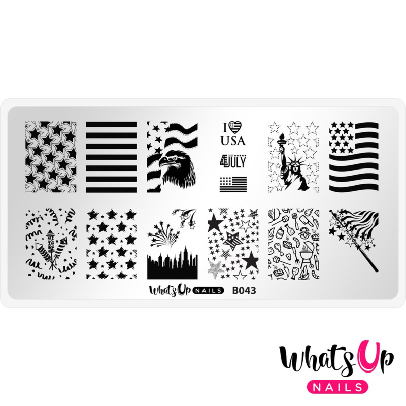 Whats Up Nails - Stamping Plate - B043 Stars and Stripes