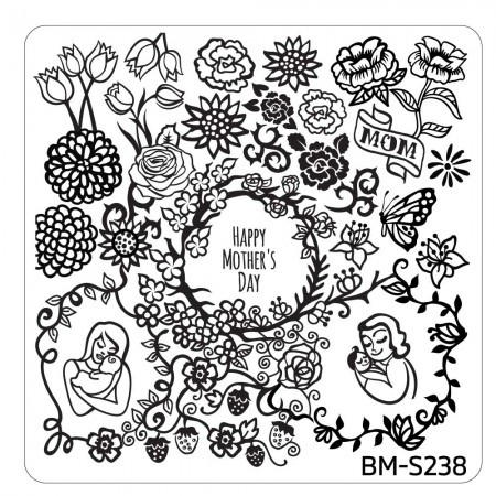 Bundle Monster - Mother's Day Nail Stamping Plate - Occasion Collection, I Love You Mom