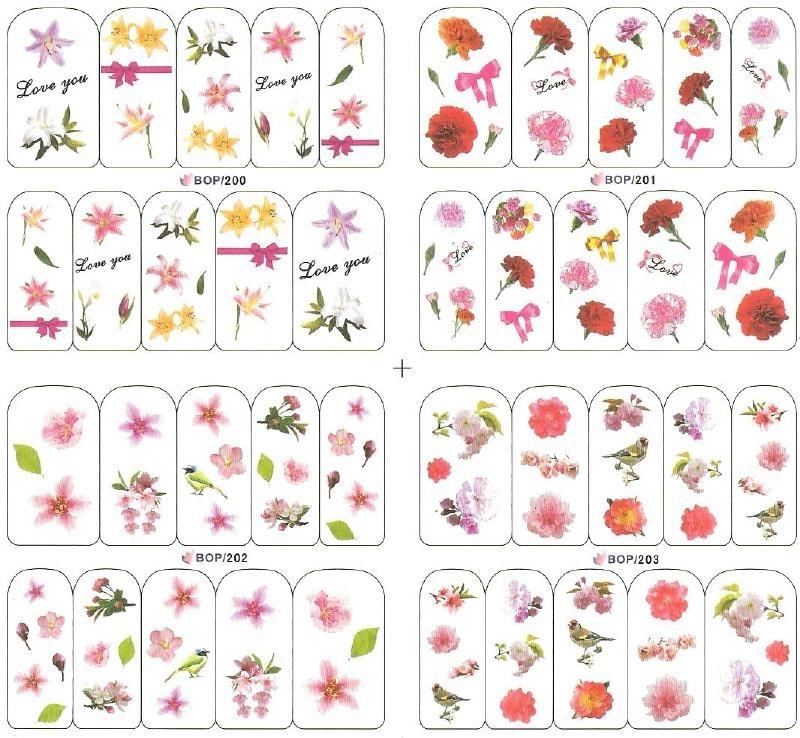 Waterdecalset -  Flowers