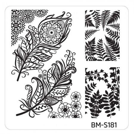 Bundle Monster - Mystic Woods Nail Stamp Plate - Leafy Feathers