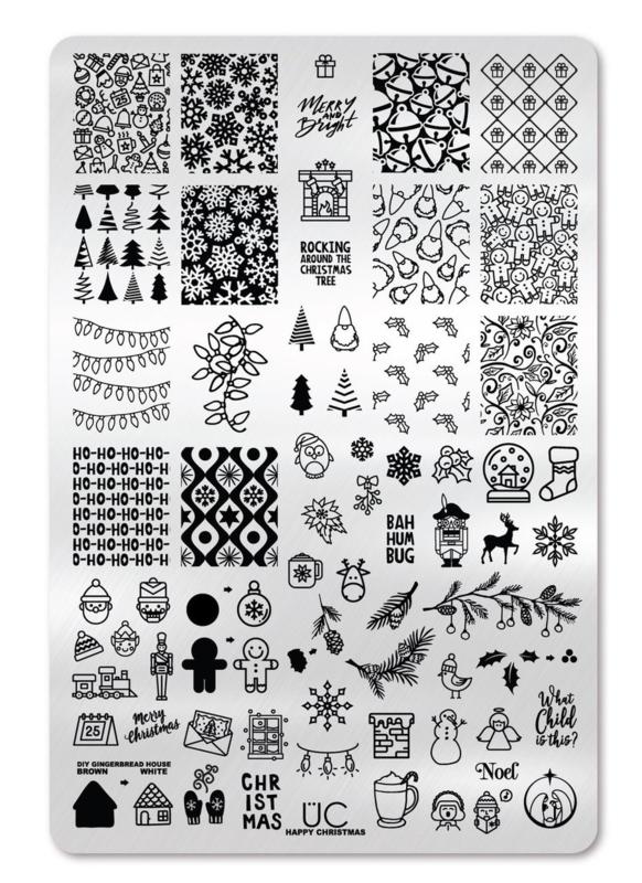 UberChic - Big Nail Stamping Plate - Happy Christmas