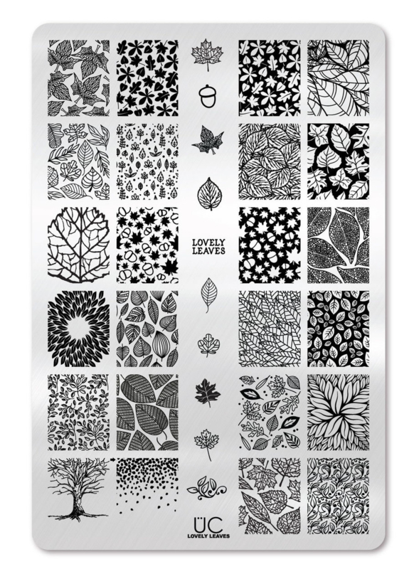 UberChic - Big Nail Stamping Plate - Lovely Leaves - 01