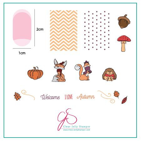 Clear Jelly Stamper - Stamping Plate - CJS_136 - Foxy Fall