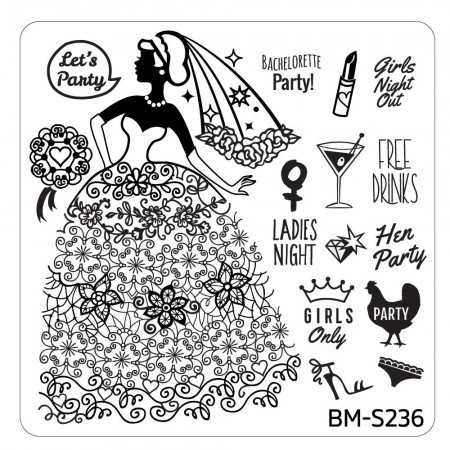 Bundle Monster - Bachelorette Nail Stamping Plate - Occasion Collection, Last Night of Freedom
