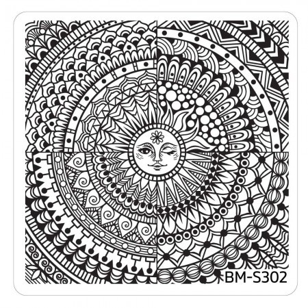 Bundle Monster - Festival Nail Art Manicure Stamping Plate - BM-S302, Shiny Happy