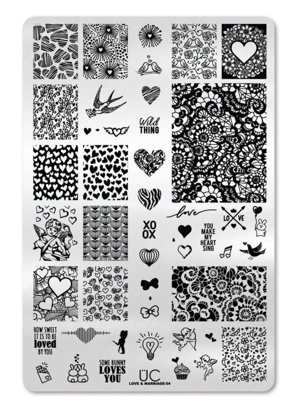 UberChic - Big Nail Stamping Plate - Love and Marriage - 04
