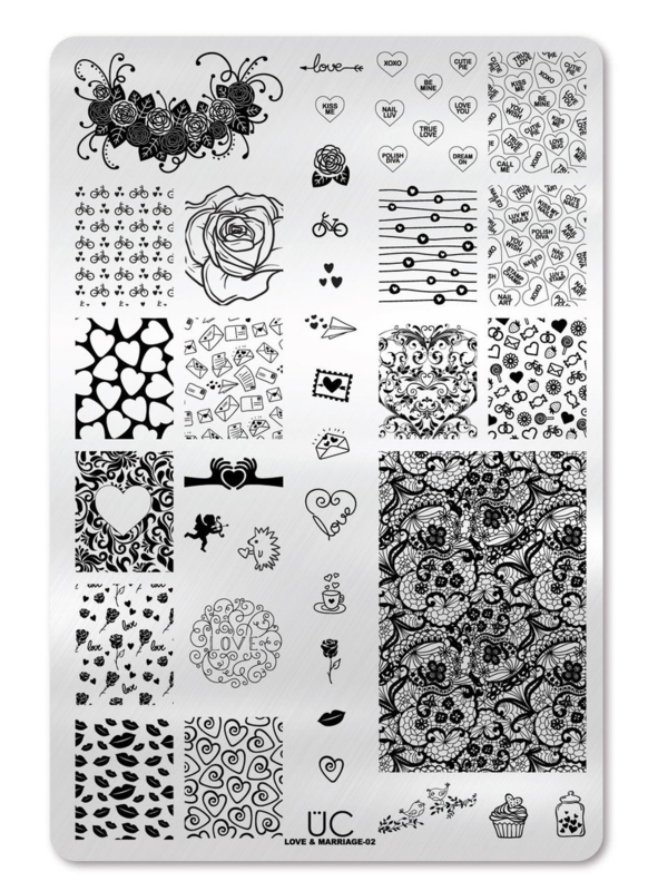 UberChic - Big Nail Stamping Plate - Love and Marriage - 02