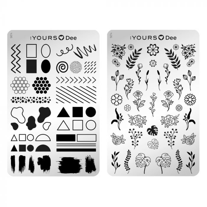 Yours Cosmetics - Stamping Plates - :YOURS Loves Dee - YLD015. Floral Frame (double sided)