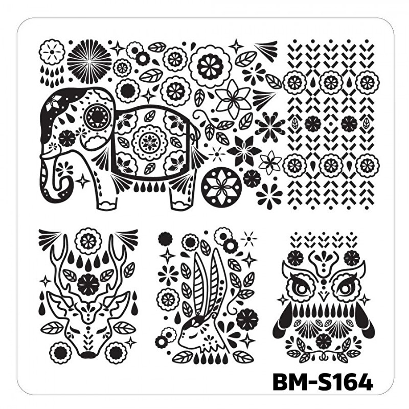Bundle Monster - Nail Art Stamping Plates - Fuzzy and Ferocious: BM-S164, Decorated Animals