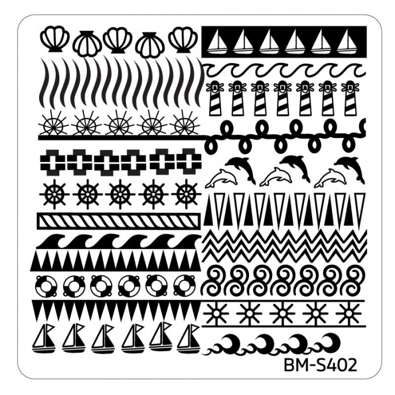 Bundle Monster - Hangloose Nail Art Manicure Stamping Plate - BM-S402, Waves of Plenty