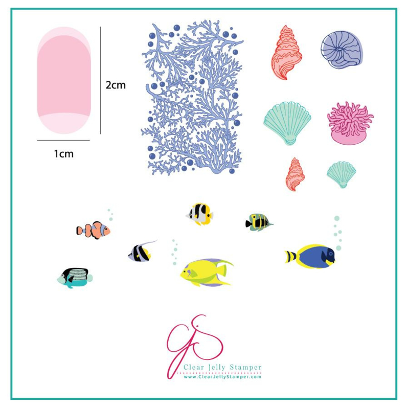 Clear Jelly Stamper - Stamping Plate - CJS_LC49 Suzie's Underwater Tropical