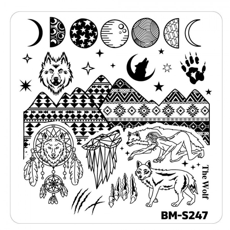 Bundle Monster - Halloween Nail Stamp Plates - House of Horrors, She-Wolf Spirit