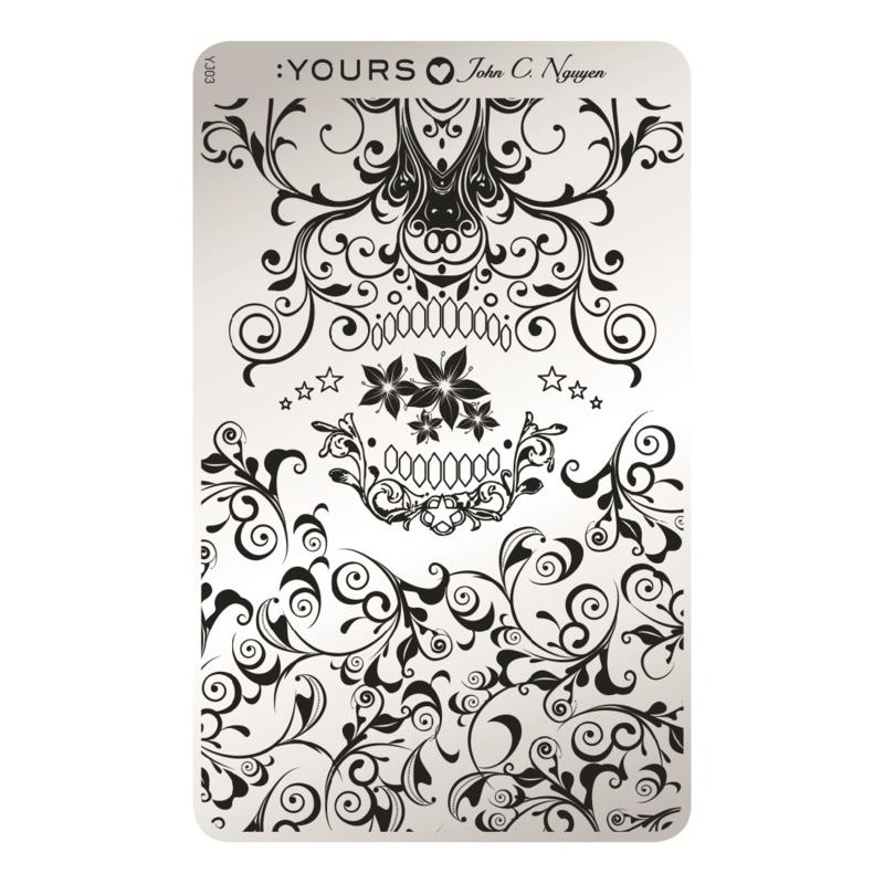 Yours Cosmetics - Stamping Plates - :YOURS Loves John - YLJ03. Skulligree