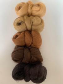 Merinowol kleur set: Bruin - beige 5 x  ongeveer 10 gram merinowol 20-21 micron Kleur nrs. 110-117-140-141-142-
