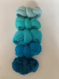 Merinowol kleur set: Turquoise 5 x  ongeveer 10 gram merinowol 20-21 micron Kleur nrs. 114-118-132-150-161