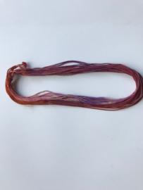 Zijde draad dik , oranje paars tinten, per 5 meter, nummer 13