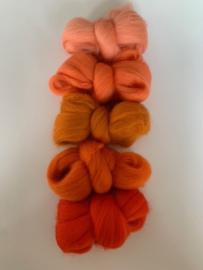 Merinowol kleur set: Oranje 5 x  ongeveer 10 gram merinowol 20-21 micron Kleur nrs. 123-134-147-156-159