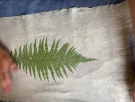Nat vilten: Bladeren vilten pakket: 1 x lap naaldvlies 55x110 cm 1x chiffon zijde 60x110cm nopjesfolie 50x 150cmincl. beschrijving en materiaal