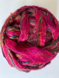 Sari zijden, fel roze tinten tinten, per 10 gram, prijs