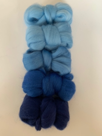 Merinowol kleur set: Blauw 5 x  ongeveer 10 gram merinowol 20-21 micron Kleur nrs.100-101-111-131-163