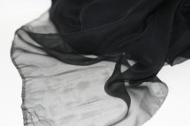 Chiffon zijde zwart, 110cm, 14g/m, prijs per meter