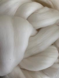 Merinowol (50 gram), ecru natuur wit, 18 micron extra fijn, per 50 gram