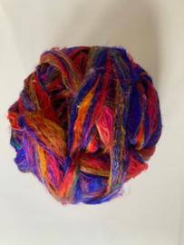 Sari zijden, rood blauw geel tinten, per 10 gram, prijs