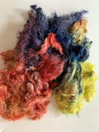 Zijde waste, 5 gram, rood blauw geel, nummer 61