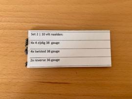 Set 2 | 10 verschillende naalden: 4x 4 zijdig 38  gauge | 4x twisted 38 gauge | 2x reverse 36 gauge