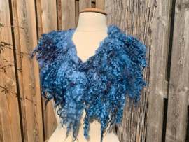 Wensleydale kraag,  blauw turquoise  tinten