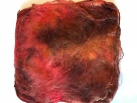 Hankies moerbei zijde 5 stuks, rood bruin tinten, nummer 5