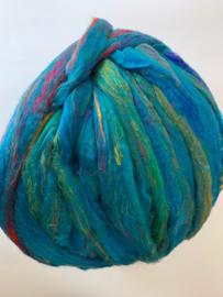 Sari zijden, turquoise, per 10 gram, prijs
