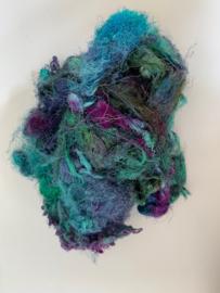 Zijde waste, 5 gram, groen blauw turquoise, nummer 84