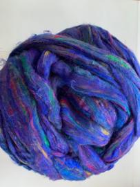 Sari zijden, paars blauw multi, per 10 gram, prijs