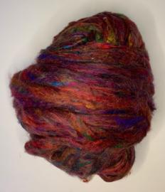 Sari zijden, multi donker rood, per 10 gram, prijs