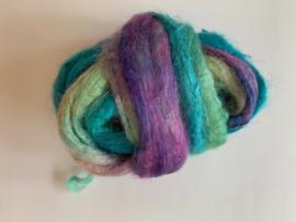 zijden lont, 3 gram, nummer 93 blauw turquoise paars groen