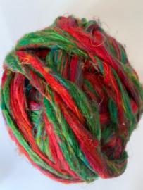Sari zijden, rood groen tinten, per 10 gram, prijs