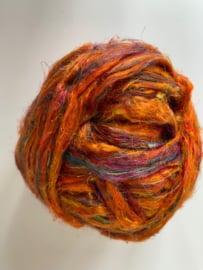 Sari zijden, oranje tinten tinten, per 10 gram, prijs