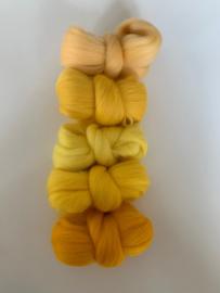 Merinowol kleur set: Geel 5 x  ongeveer 10 gram merinowol 20-21 micron Kleur nrs. 104-105-130-139-155