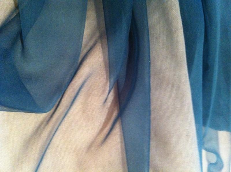 Chiffon zijde 3.5, petrol,  110 breed, per 50 cm, 14g/m, prijs