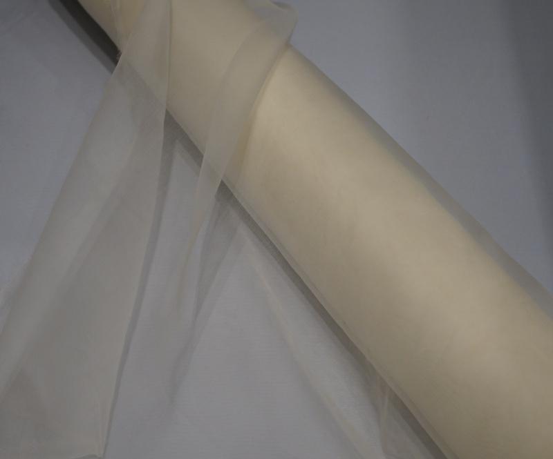 Organza zijde, ecru, 90 cm breed, per 50 cm 12 g/m