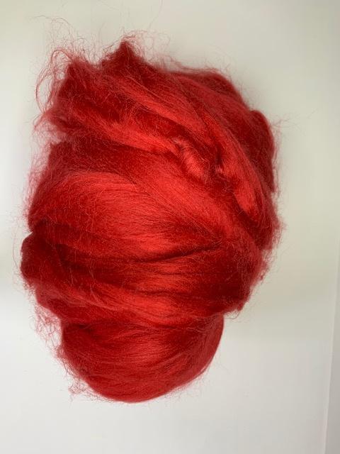 Tussah zijdenlont  rood, 10 gram