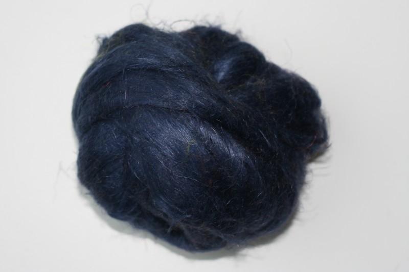 Vlas donker blauw, 60cm