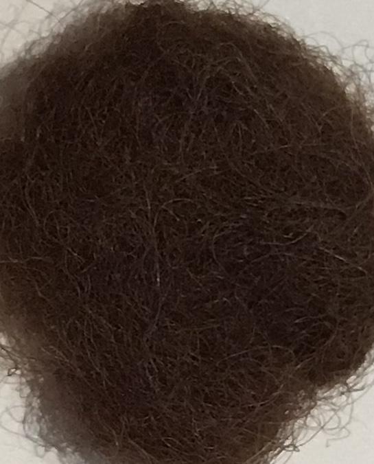 Nieuw Berg schaap, in vlies, bruin, per 100 gr 30-32 micron