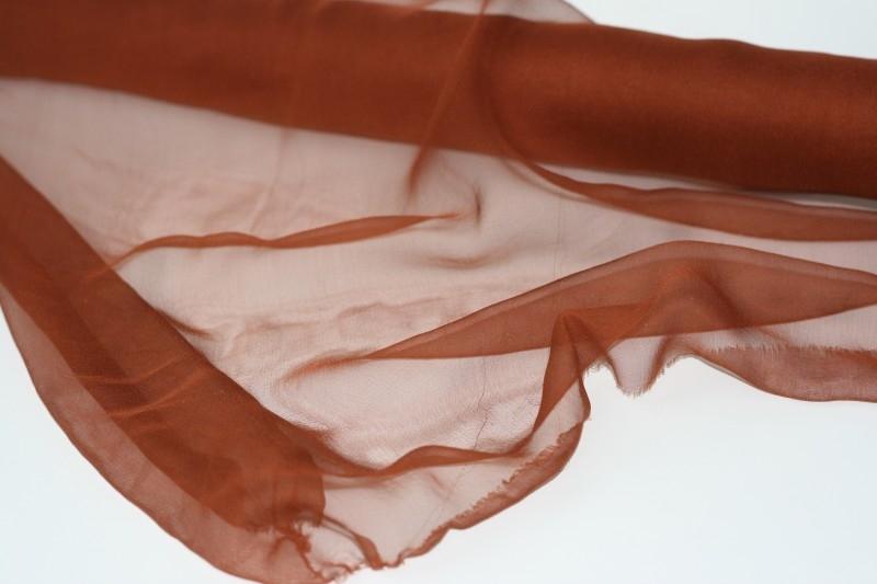 Chiffon zijde 3.5, congnac/roest, 110 breed, per meter, 14g/m, prijs