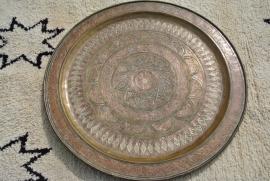 Verkocht antiek dienblad koper 95cm