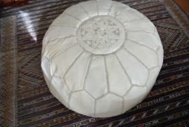Marokkaanse poef Tletien wit