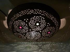 Marokkaanse lamp plafonaire koper 60cm Verkocht