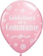communie ballon roze wit 30 cm, 11 inch per 5 stuks