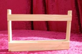 houten opmaak rekje voor glazen buisjes